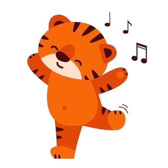 A cute tiger dances to the music vector illustration in cartoon style