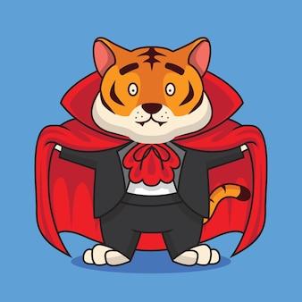 Cute tiger dracula costume cartoon illustration
