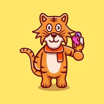 Cute tiger eating ice cream illustration
