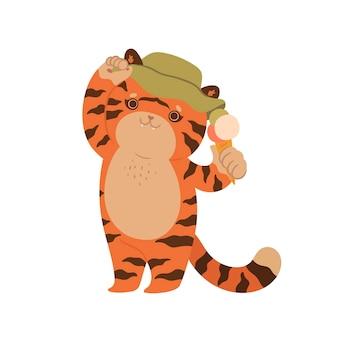 Милый тигр ест мороженое на белом фоне. векторная графика.