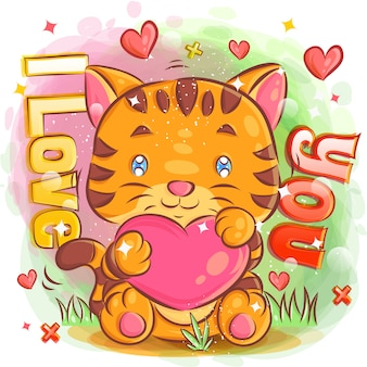 Cute tiger feeling in love with hold a hearth shape illustration