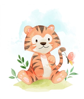 Cute tiger in the field illustration