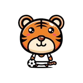 귀여운 호랑이 축구 선수 디자인