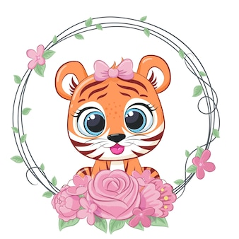 Cute tiger girl with flowers and a wreath. vector illustration of a cartoon.