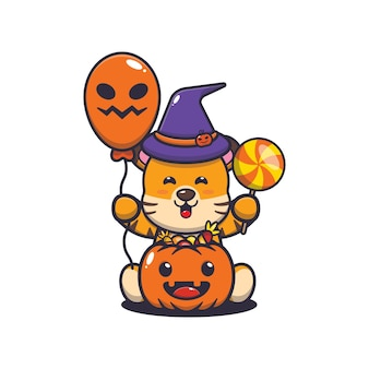 Cute tiger happiness in halloween day cute halloween cartoon illustration