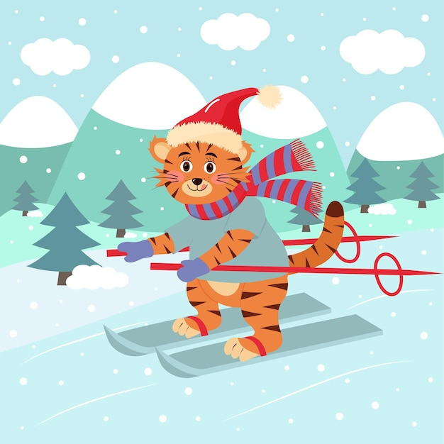 Cute tiger in hat and scarf is skiing. winter landscape. winter greeting card.