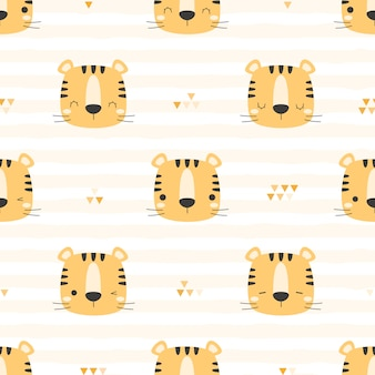 Cute tiger head on grid cartoon doodle seamless pattern