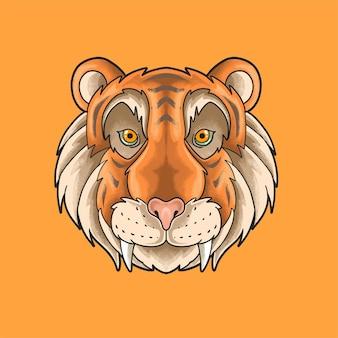 Cute tiger head illustration grunge style