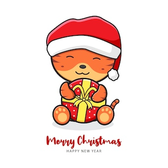Cute tiger holding gift greeting merry christmas and happy new year cartoon doodle card illustration