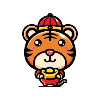 금을 들고 귀여운 호랑이는 중국 새 해를 축하합니다