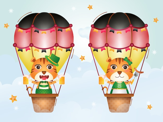 Cute tiger on hot air balloon with traditional oktoberfest dress
