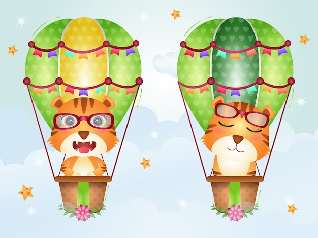Cute tiger on hot air balloon
