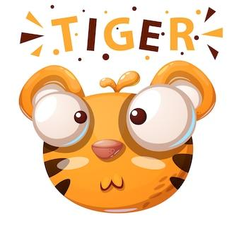 Cute tiger illustration. cartoon characters.