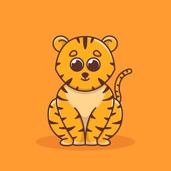 Милая иллюстрация тигра в плоском дизайне