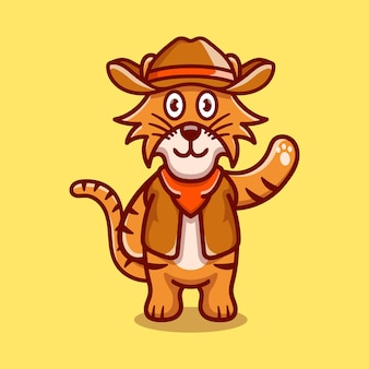 Cute tiger illustration wearing cowboy clothes