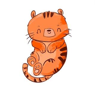 Симпатичная иллюстрация тигра.