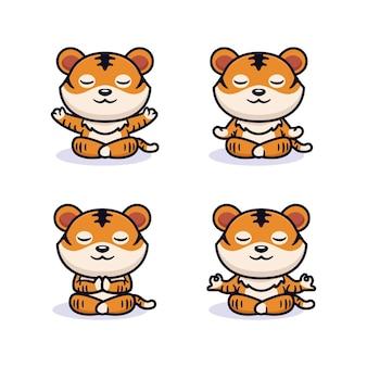 ヨガ瞑想のポーズでかわいい虎