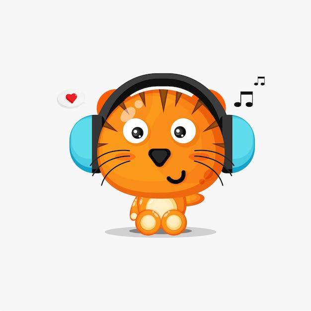 귀여운 호랑이 흰색 절연 음악을 듣고있다