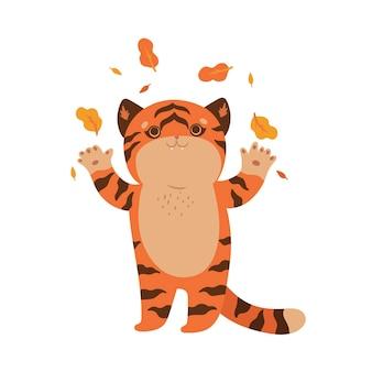 Изолировать милый тигр на белом фоне. векторная графика.