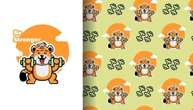 シームレスなパターンでダンベル漫画を持ち上げるかわいい虎