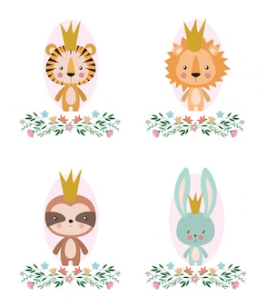 Cute tiger lion sloth and rabbit cartoon design, animal zoo life nature character childhood and adorable theme vector illustration