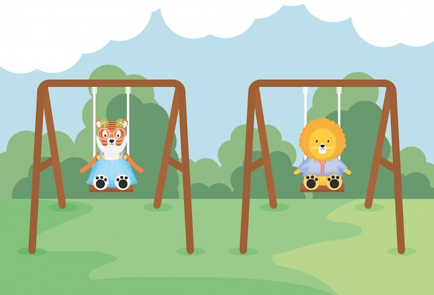 Cute tiger and lion in swing