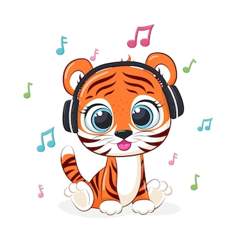 Cute tiger listens to music with headphones. vector illustration of a cartoon.