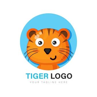 Симпатичный дизайн логотипа тигра