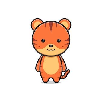 かわいい虎のマスコットキャラクター漫画アイコンイラスト。孤立したフラット漫画スタイルをデザインする