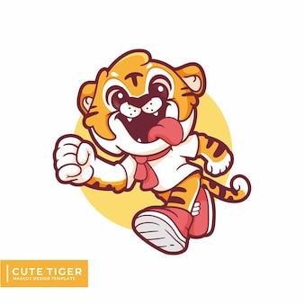 Милый тигр талисман логотип