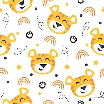 귀여운 호랑이 패턴 일러스트 디자인