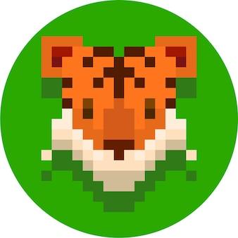 かわいい虎のピクセルアートイラスト