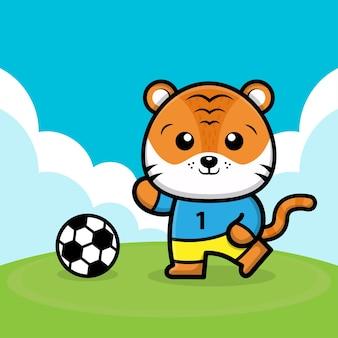 かわいい虎がサッカーボールの漫画イラストを再生します。