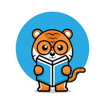 Cute tiger reading a book cartoon illustration