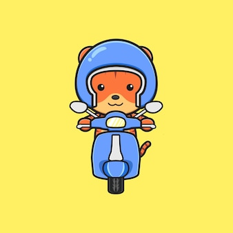 Cute tiger riding scooter cartoon icon illustration. design isolated flat cartoon style