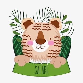 Cute tiger and safari sign