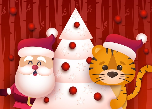 Cute tiger and santa decorate the christmas treecongratulatory banner with chinese new year 2022 ye
