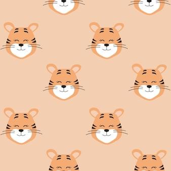 귀여운 호랑이 원활한 패턴 새 해 기호 2022