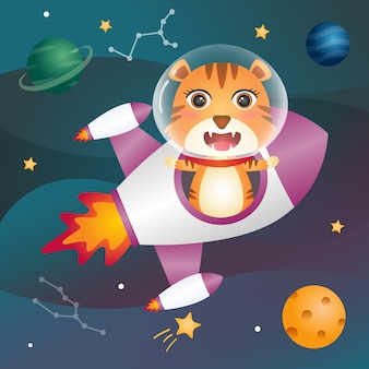 Cute tiger in the space galaxy