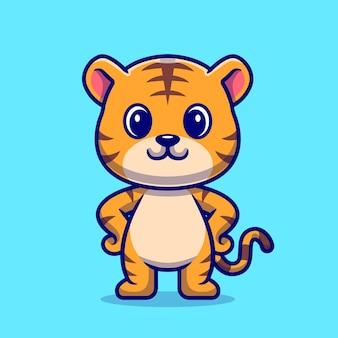 Милый тигр стоя мультяшный вектор значок иллюстрации. концепция животного природы значок изолированные premium векторы. плоский мультяшном стиле