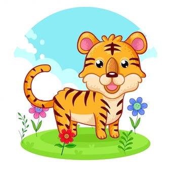 Cute tiger standing on a flower meadow.