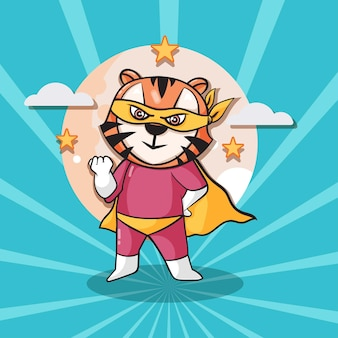 귀여운 호랑이 슈퍼 영웅 만화 그림입니다. 동물 영웅 개념 고립 된 평면 만화