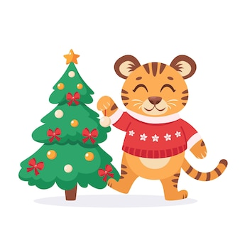 Cute tiger in a sweater decorates the christmas tree