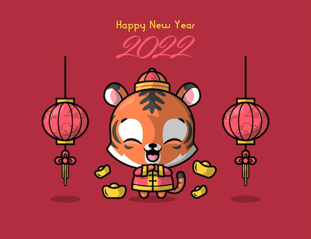 A cute tiger in traditional chinese outfit is greeting for chinese new year