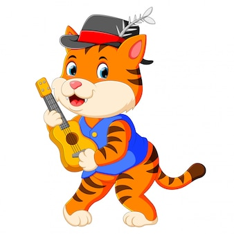 The cute tiger uses the black hat and playing the guitar
