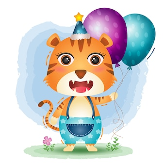 A cute tiger using birthday hat and holds balloon