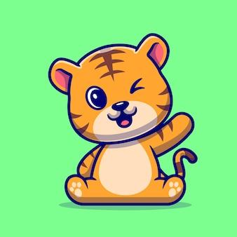 Милый тигр машет рукой мультяшный вектор значок иллюстрации. концепция животного природы значок изолированные premium векторы. плоский мультяшном стиле