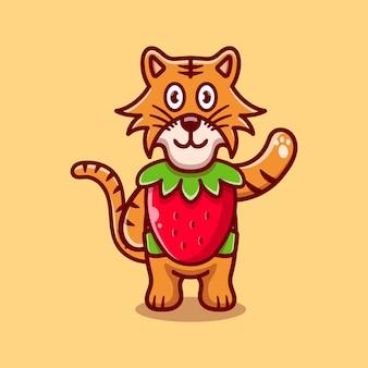 Cute tiger wear costume strawberry
