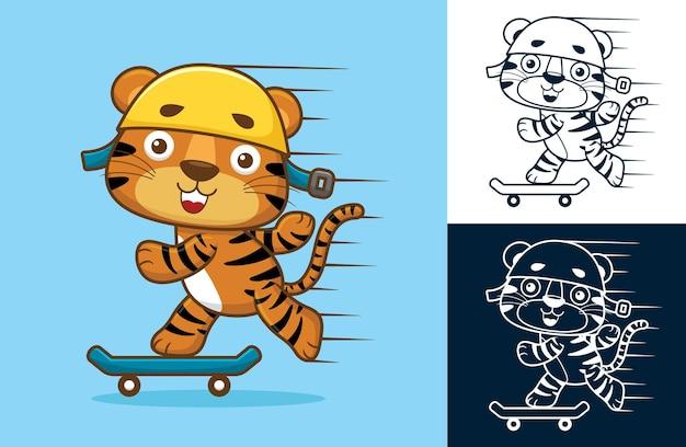 スケートボードをするヘルメットをかぶったかわいい虎。フラットアイコンスタイルの漫画イラスト