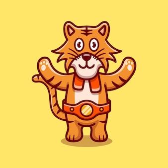 귀여운 호랑이가 권투 경기에서 이겼습니다.
